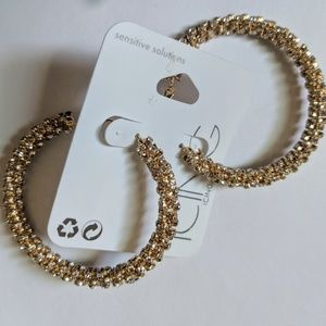 NWT Big Gold Toned Hoops